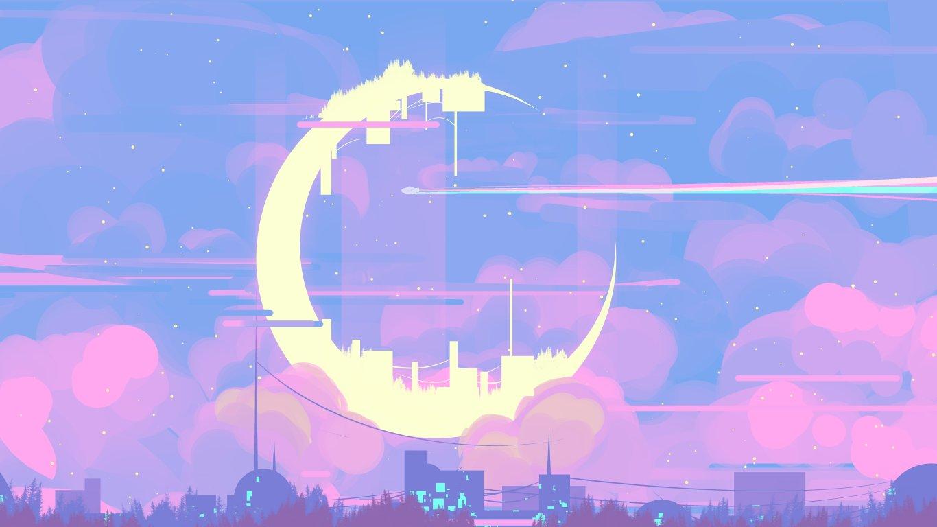 Cityline Digital 1366x768 In 2020 Aesthetic Desktop Wallpaper Desktop Wallpaper Art Anime Scenery Wallpaper