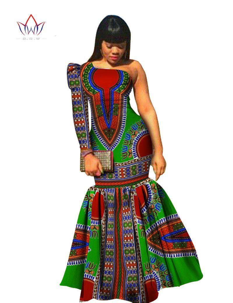 6226b5e4dba Fashion Women Dress Asymmetrical Offric Dress Brand Clothing Plus Size  African Print Dress Dashiki Mermaid Party Vestidos VWY346