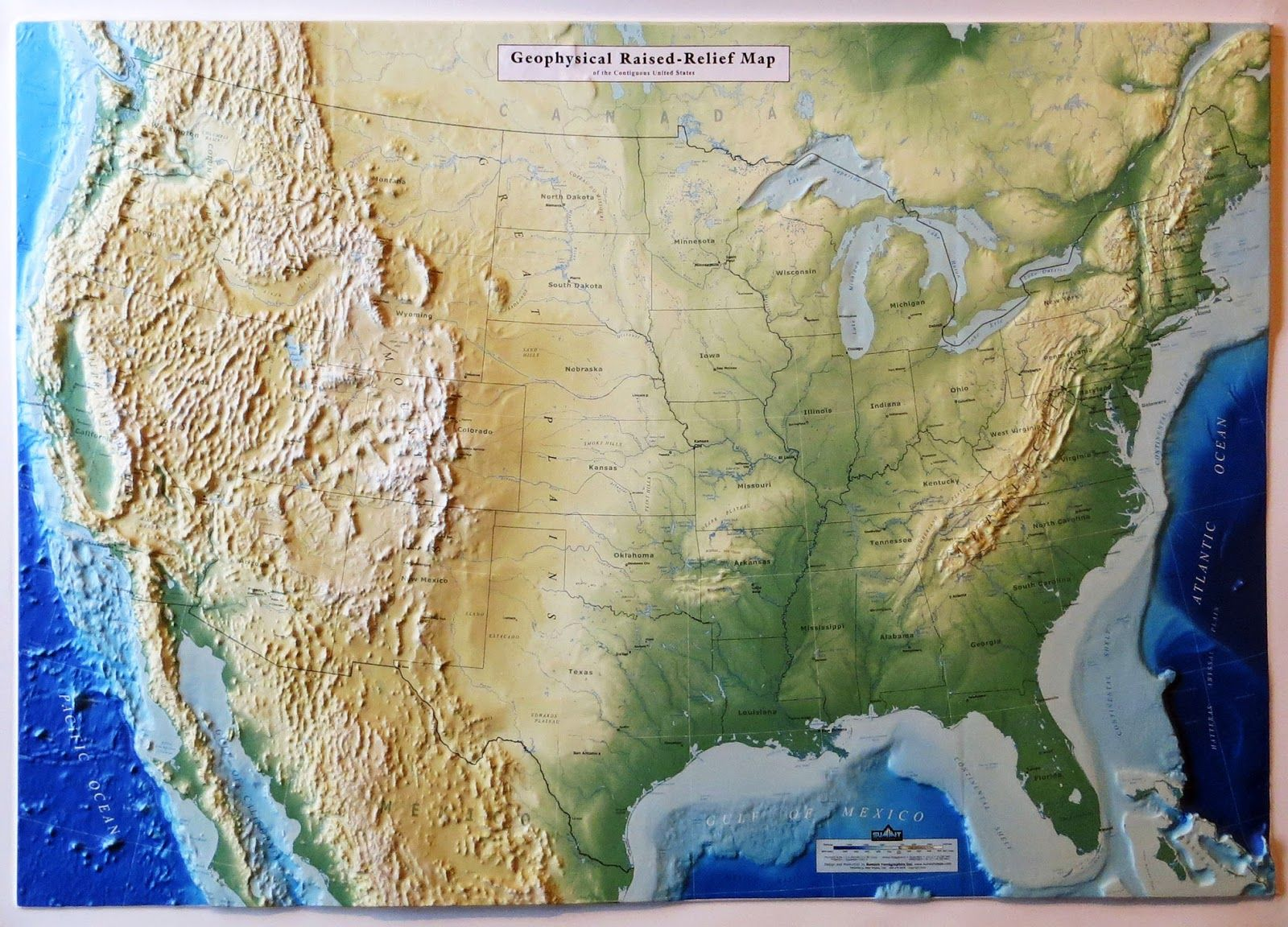 Map Of The Us And Canada%0A Raised Map of USA Maps that explain the World
