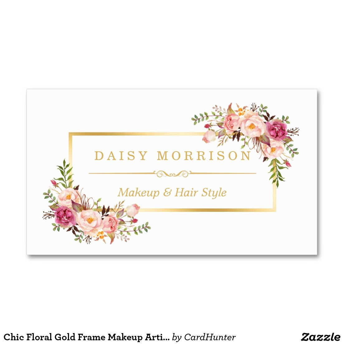 Chic Floral Gold Frame Makeup Artist Beauty Salon Business Card ...