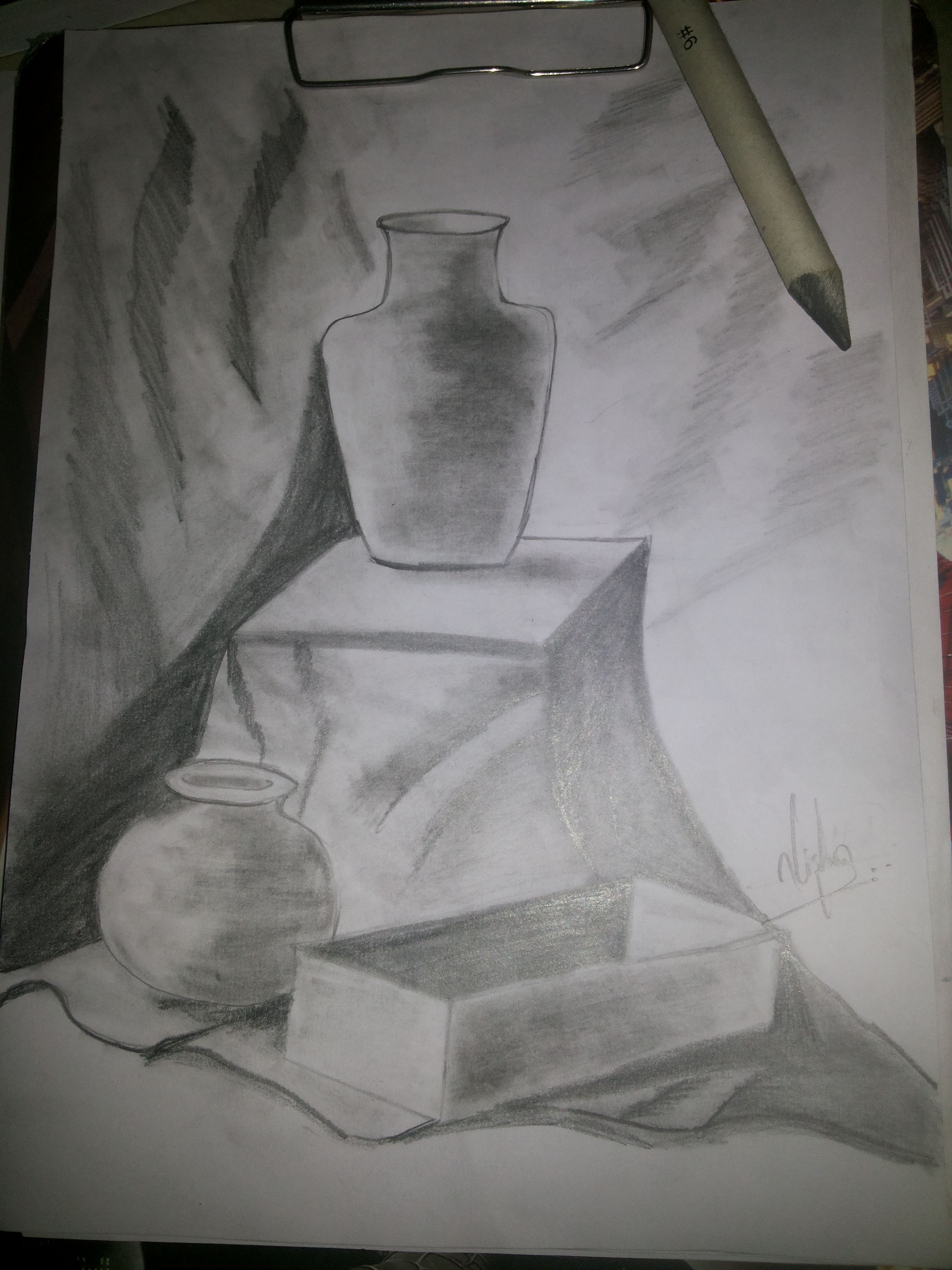 Still life of pot cloth box art work easy drawings
