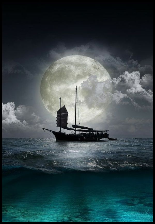Boat in the moonlight.                                                       …