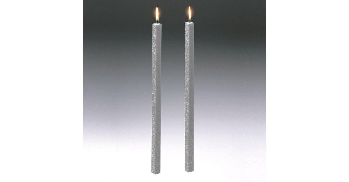 Amabiente Amabiente Kerze Classic Silbergrau 40cm 2er Set Online