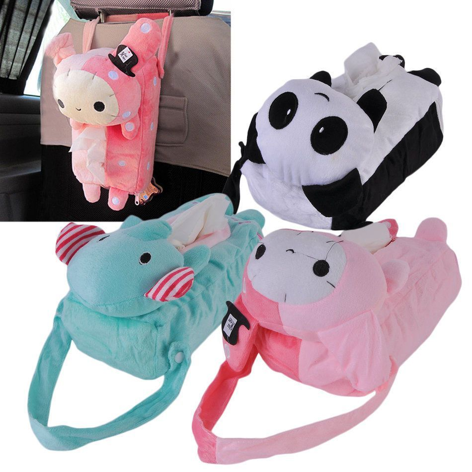 Lovely Cartoon Car Seat Back Storage Bag Plush Animal Tissue Organizer Zd