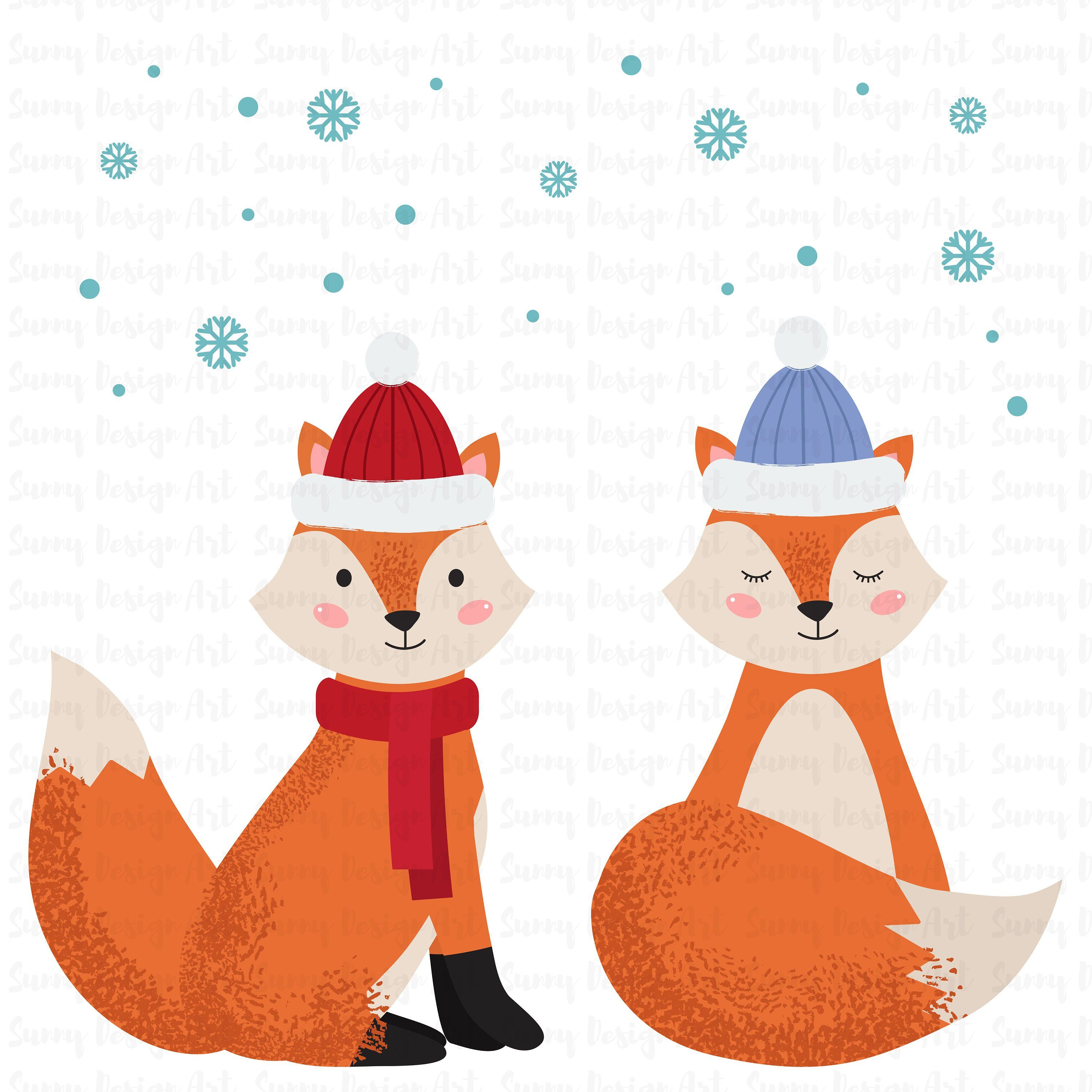 Winter Animals Clipart Cute Forest Animals Vector Woodland Clipart Christmas Animals Vector Holiday Animal Clip Art Instant Download Animal Clipart Christmas Animals Clip Art
