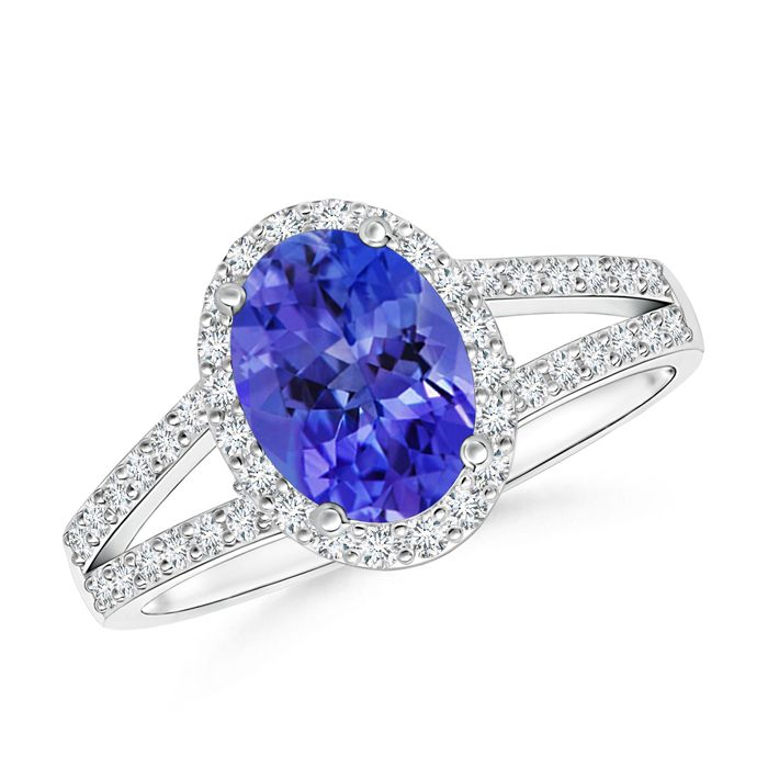 Angara Cathedral Set Tanzanite and Diamond Split Shank Ring in Yellow Gold