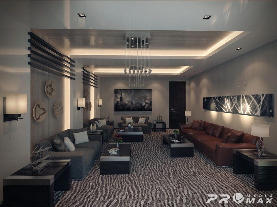 Masculine Furnishings And Bold Pattern Dominate This Large Open Magnificent Modern And Contemporary Living Room Designs Design Ideas