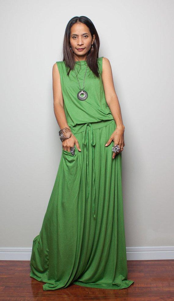 b3e27cff6392 Maxi Dress, sleeveless green dress, long green dress, summer dress with  pockets, women's dress, floo