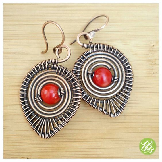 Copper dangle earrings, wire wrap earrings coral, red coral earrings ...