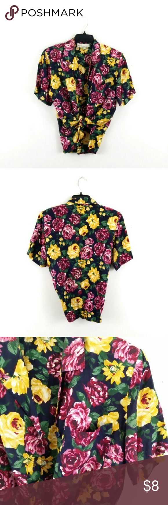 Vintage Floral Garden Top ***PLEASE READ*** THIS ITEM MUST BE IN A BUNDLE, YOU CANNOT PURCHASE THIS ITEM AS (1) ITEM I'll HAVE TO CANCEL YOUR ORDER IF ITS NOT IN A BUNDLE.  I ship Mon/Wed/Fri vintage  Tops Button Down Shirts