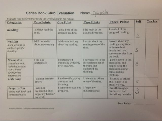 McElhinny S Center Stage Series Book Clubs Self Assessment