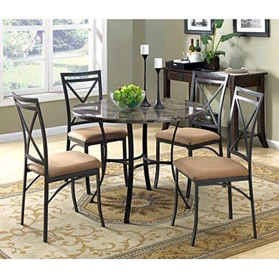 Attractive Dining Table Set 5 Pc With Chairs For 4 Person Kitchen Round Vintage  Funriture