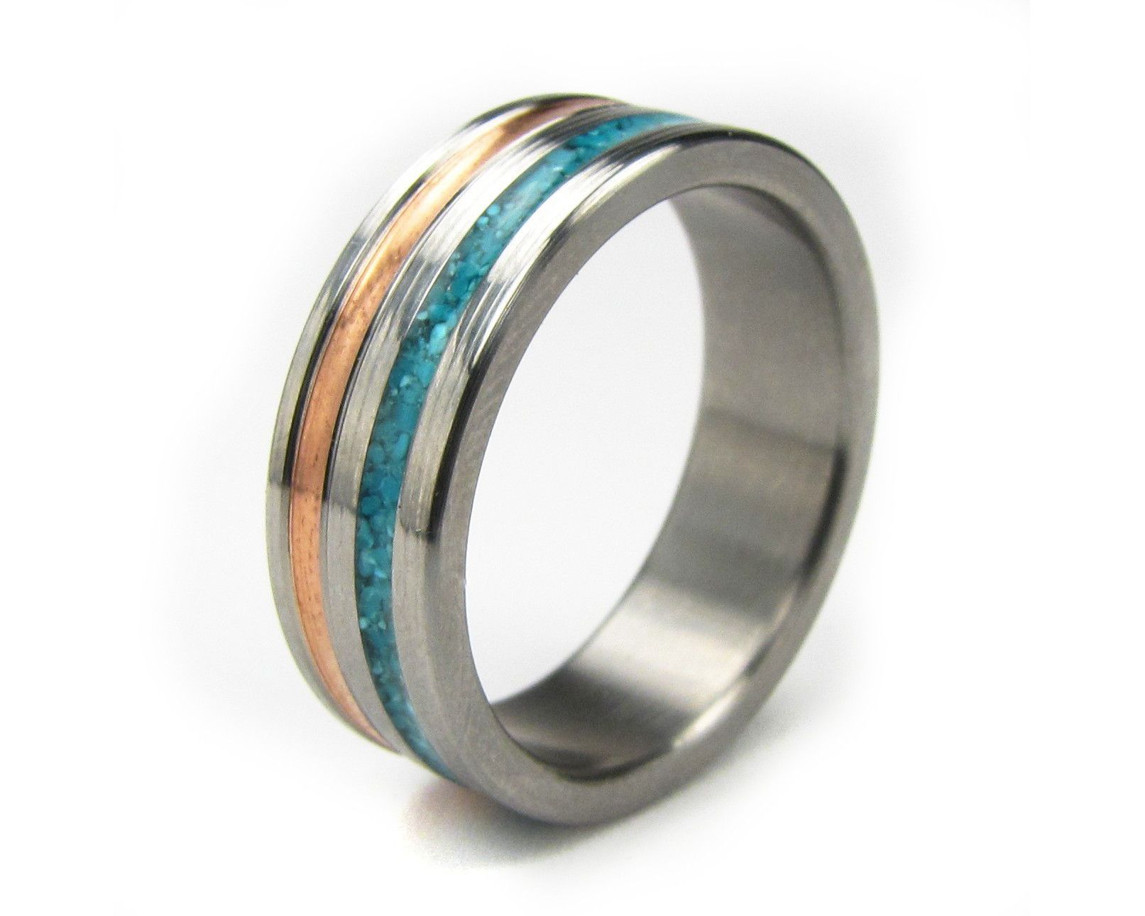 Paradox copper and turquoise inlay menus ring paradox turquoise