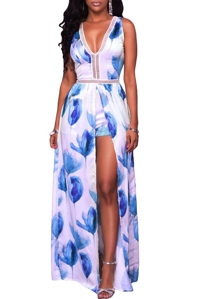 656f108fe0b1 Blue White Flowers Print Backless Short Jumpsuit with Maxi Overlay ...