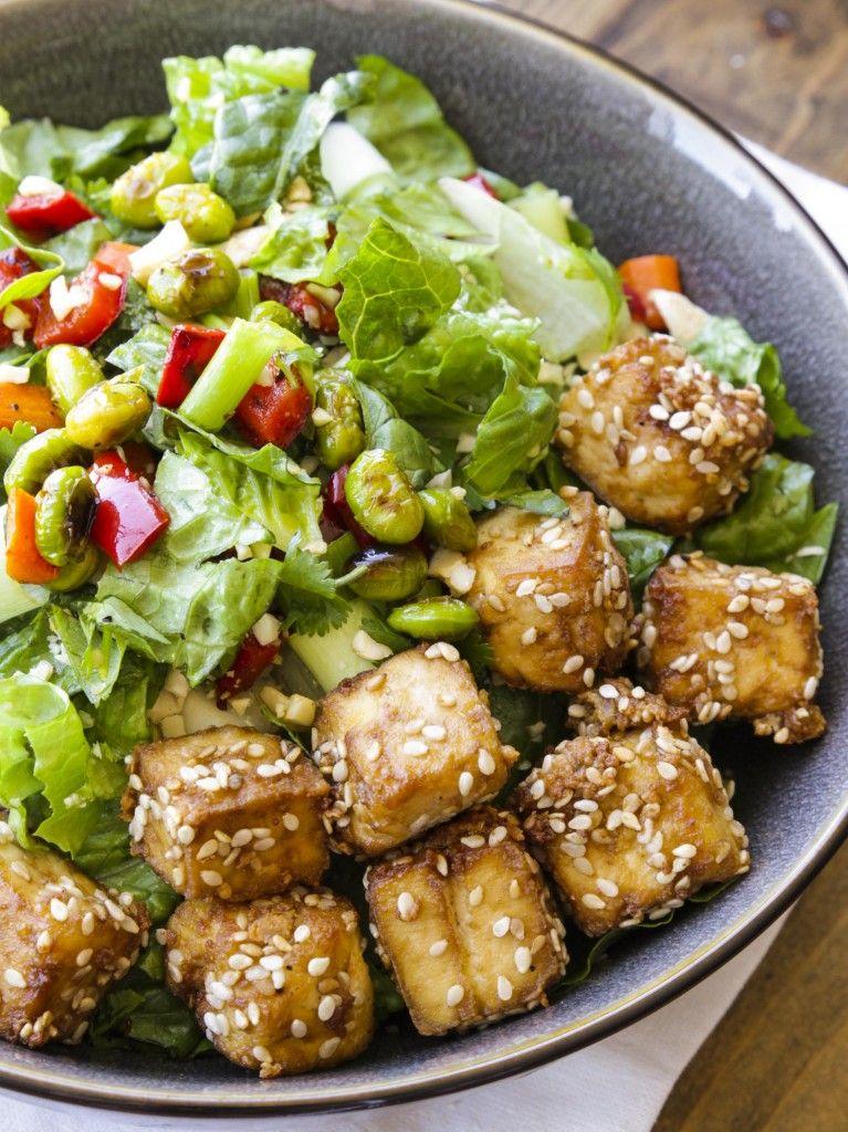 Thai chopped peanut salad with crispy sesame tofu (vegan, gf)