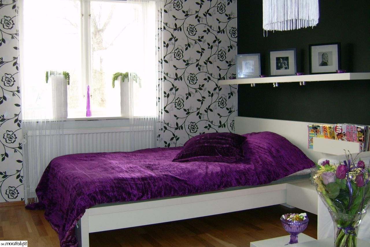 Window bedroom design  fashionable teenge girl bedroom design with purple duvet cover and