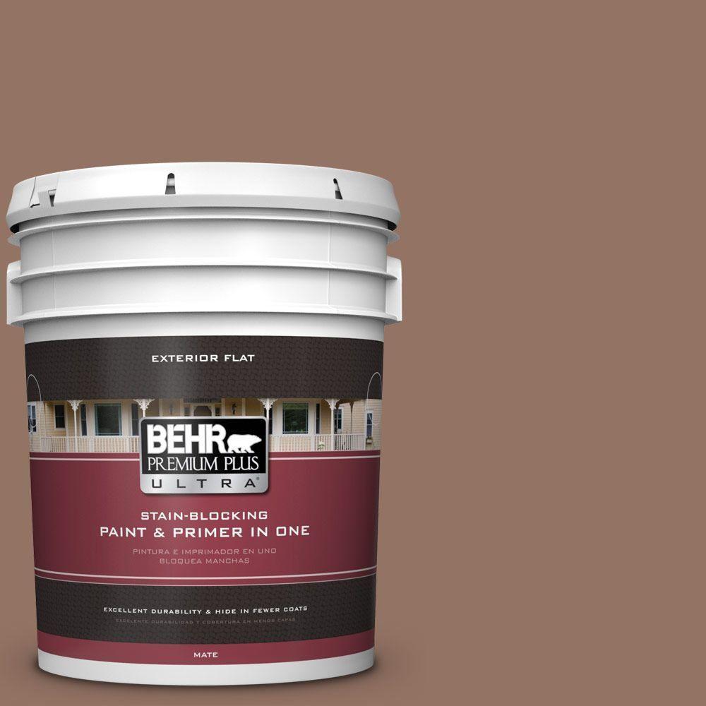 BEHR Premium Plus Ultra 5-gal. #bxc-84 Corral Brown Flat Exterior Paint