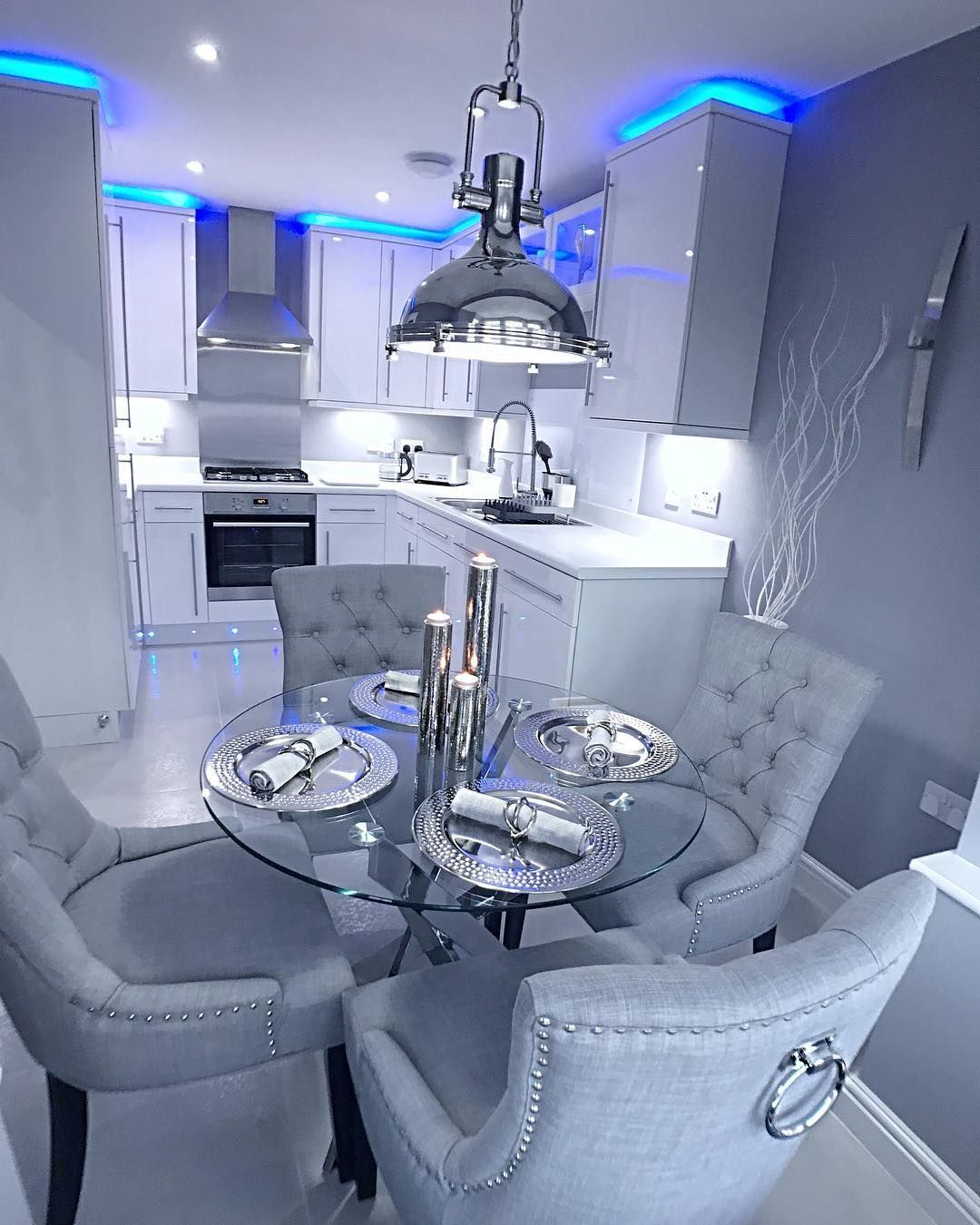 Smallbedroom The Grey Abode On Instagram Kitchen Blue Grey For Days We Dont Have Much Co In 2020 Dream House Decor Living Room Decor Apartment Elegant Dining Room