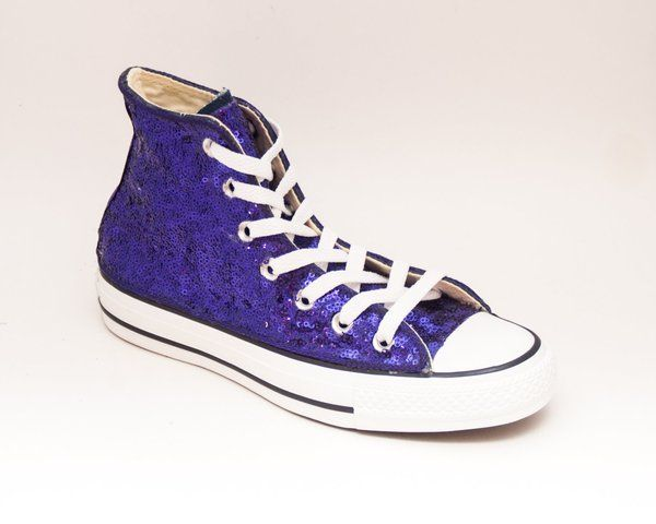Custom Made Purple Sequin Canvas High Top Sneakers. Sequin ShoesBat ...