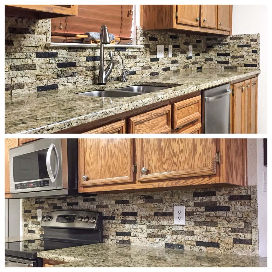 Kitchen backsplash: a custom color blend of recycled granite split ...