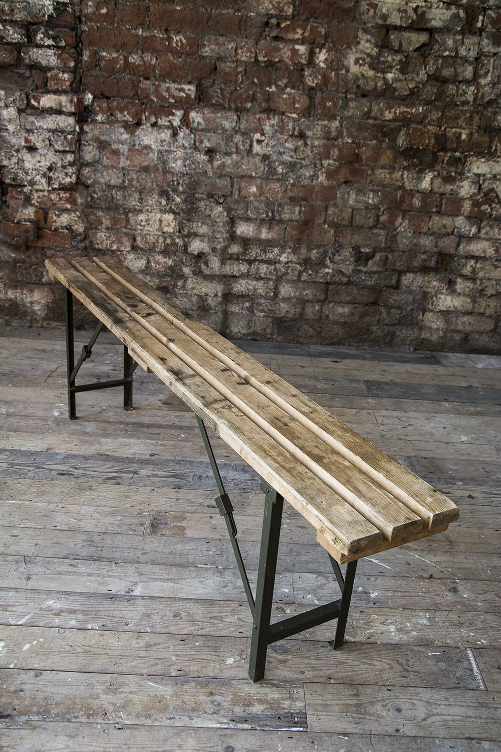 Ex MOD wooden bench with metal folding legs - Measurements ...
