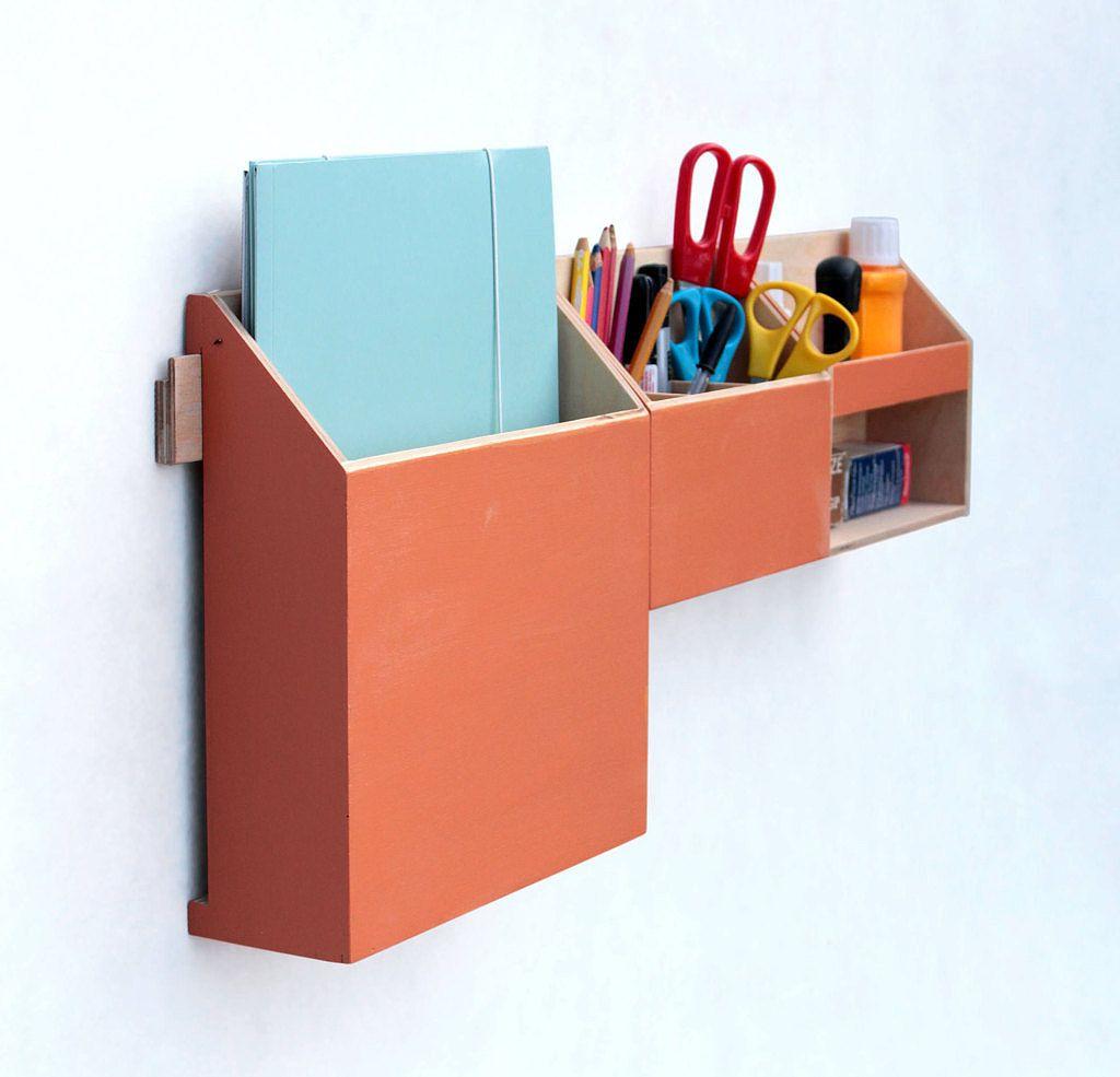 Wall Wood Organizer Orange Home Office Organizer Storage Wood Holder Office Mail Storage Set Control Holder Remote Work Office Gift Desk Organization Storage Sets Work Office Gifts