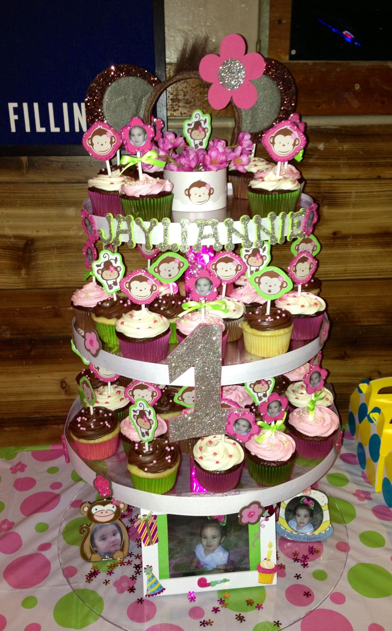 Mod Monkey Cupcake Tower Perfect for baby girls 1st birthday Made