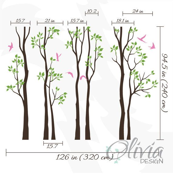 Blanco abedul árboles a vivero vinilo pared árbol calcomanía ...