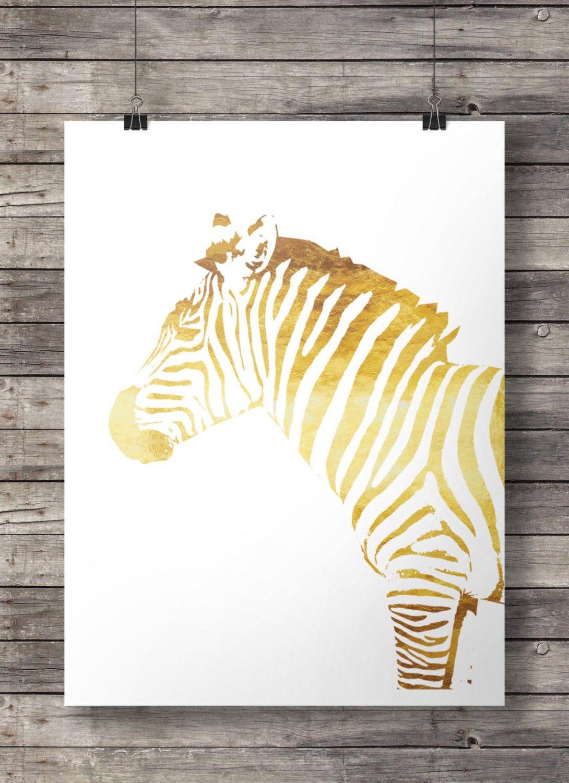 Zebra | Printable art | Printable gold Zebra art print | Gold Zebra ...