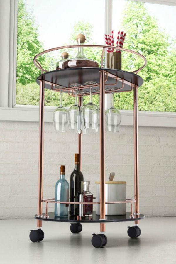 plato serving bar cart wine glass