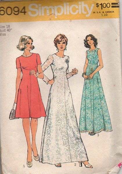 61f63ce426e Simplicity Evening Gown Cocktail Dress 70s Sewing Pattern High Neck A-line  Front Seam Empire Waist Bust 40 Plus Size Fashion