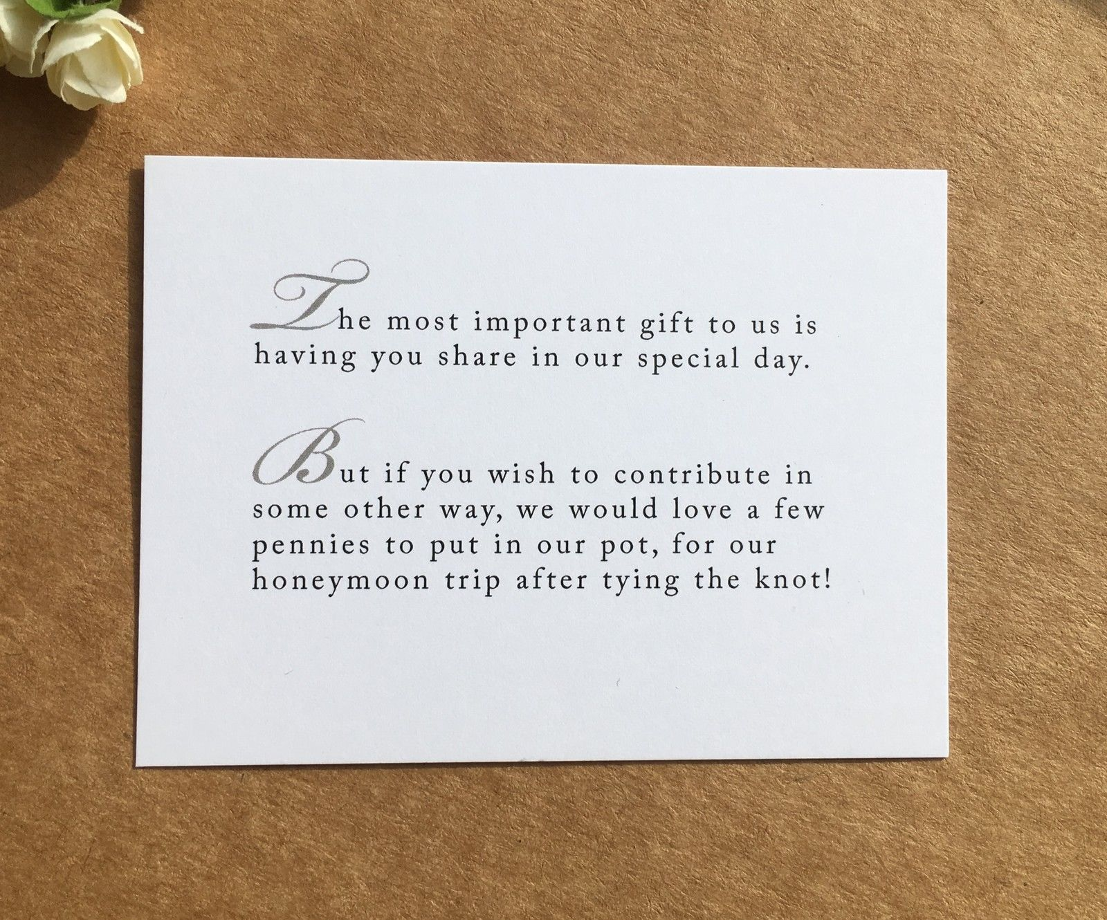 Wedding Poem Card Inserts Wedding Invitations Money Cash Gift Honeymoon Ebay Wedding Invitation Poems Wedding Gift Poem Wedding Poems