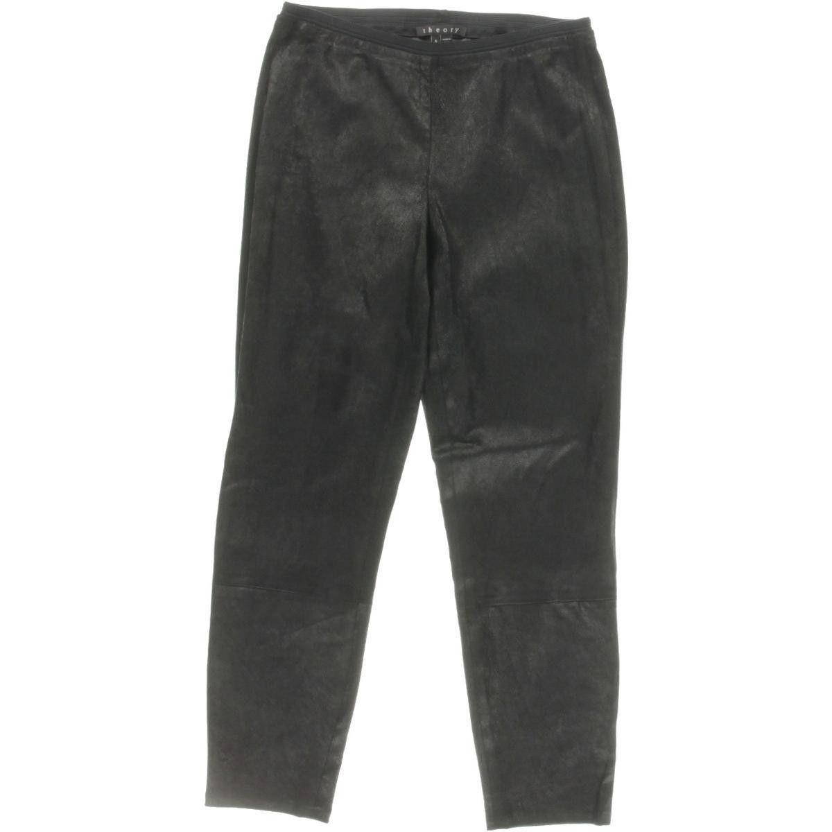 Theory Womens Pidasha Lamb Leather Cropped Leggings