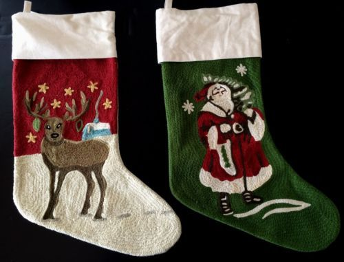 2 pottery barn crewel embroidered christmas stockings santa + ...