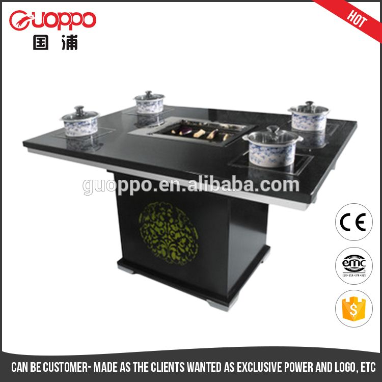 Commercial Professional Hot Pot Table Korean Bbq Grill Table For