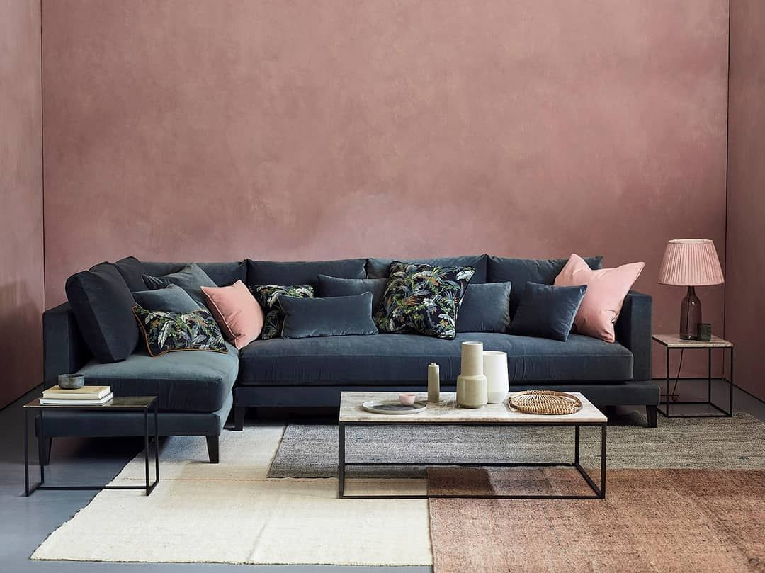 Linwood Fabrics Wallpapers On Instagram Loveyourhomeuk Have Used Marine From Ou Corner Sofa Living Room Velvet Sofa Living Room Living Room Sofa