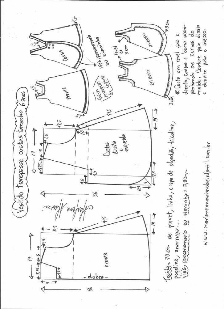 Patrón de vestido de niña cruzado y botones en la espalda | COSTURA ...