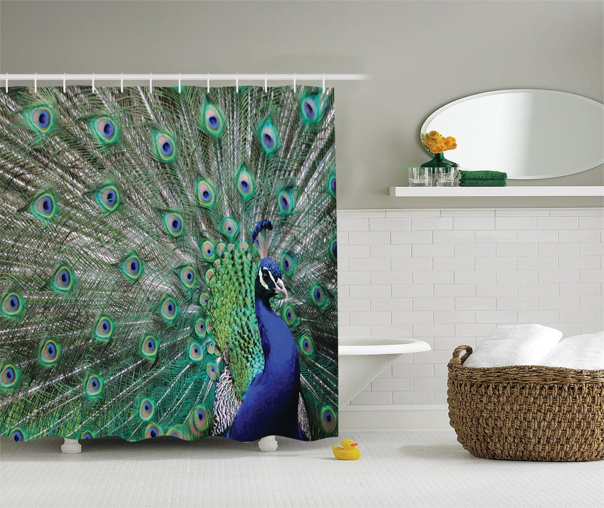 Ambesonne Peafowl Feathers Decor Collection Majestic