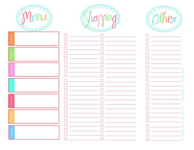 free printable grocery list and meal planner