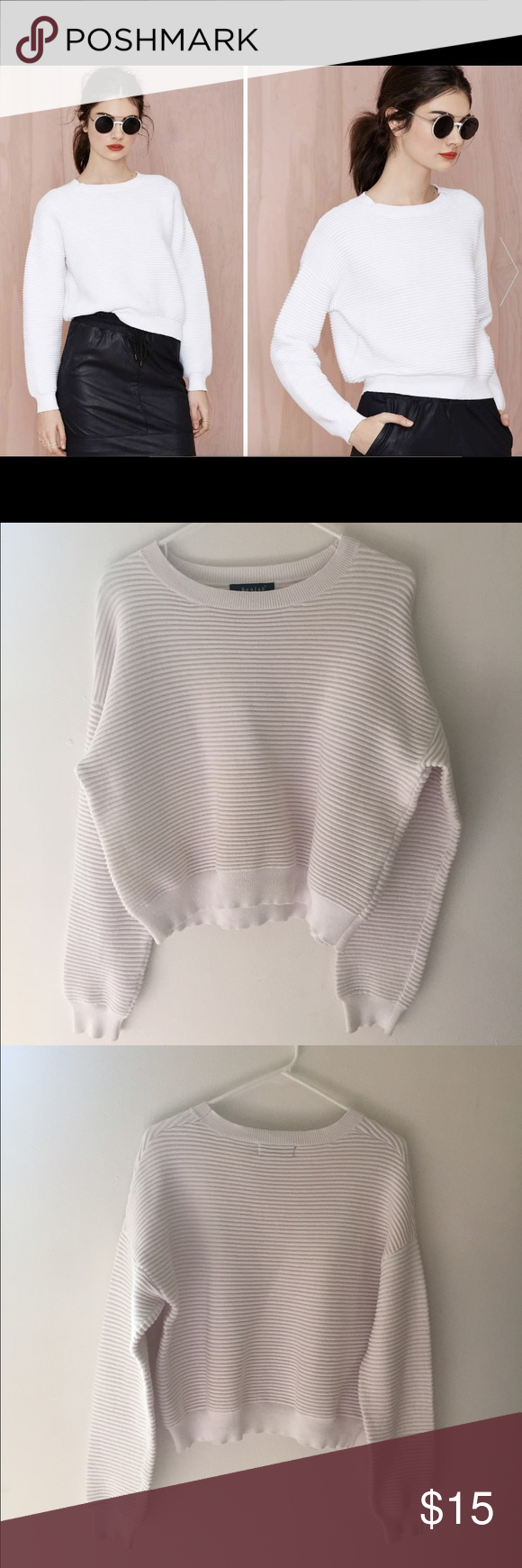 Nast Gal Dorah Waffle Knit Sweater by Beulah Nasty Gal Dorah Waffle Knit sweater by Beulah.  White ribbed knit, wide crew neck, boxy fit and ribbed hem and cuff. Nasty Gal Sweaters Crew & Scoop Necks