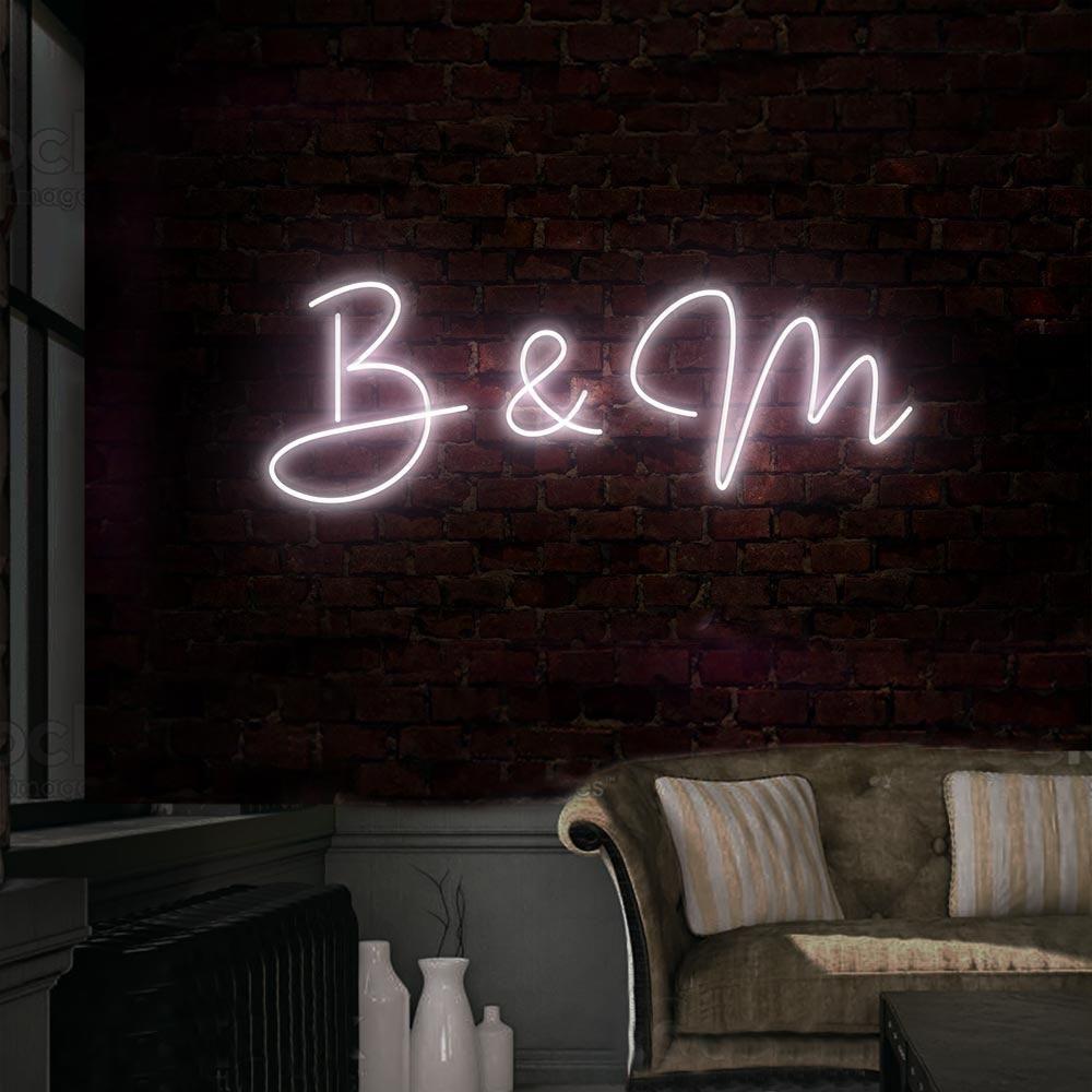 Initial Script Neon Sign Neon signs, Dance floor wedding