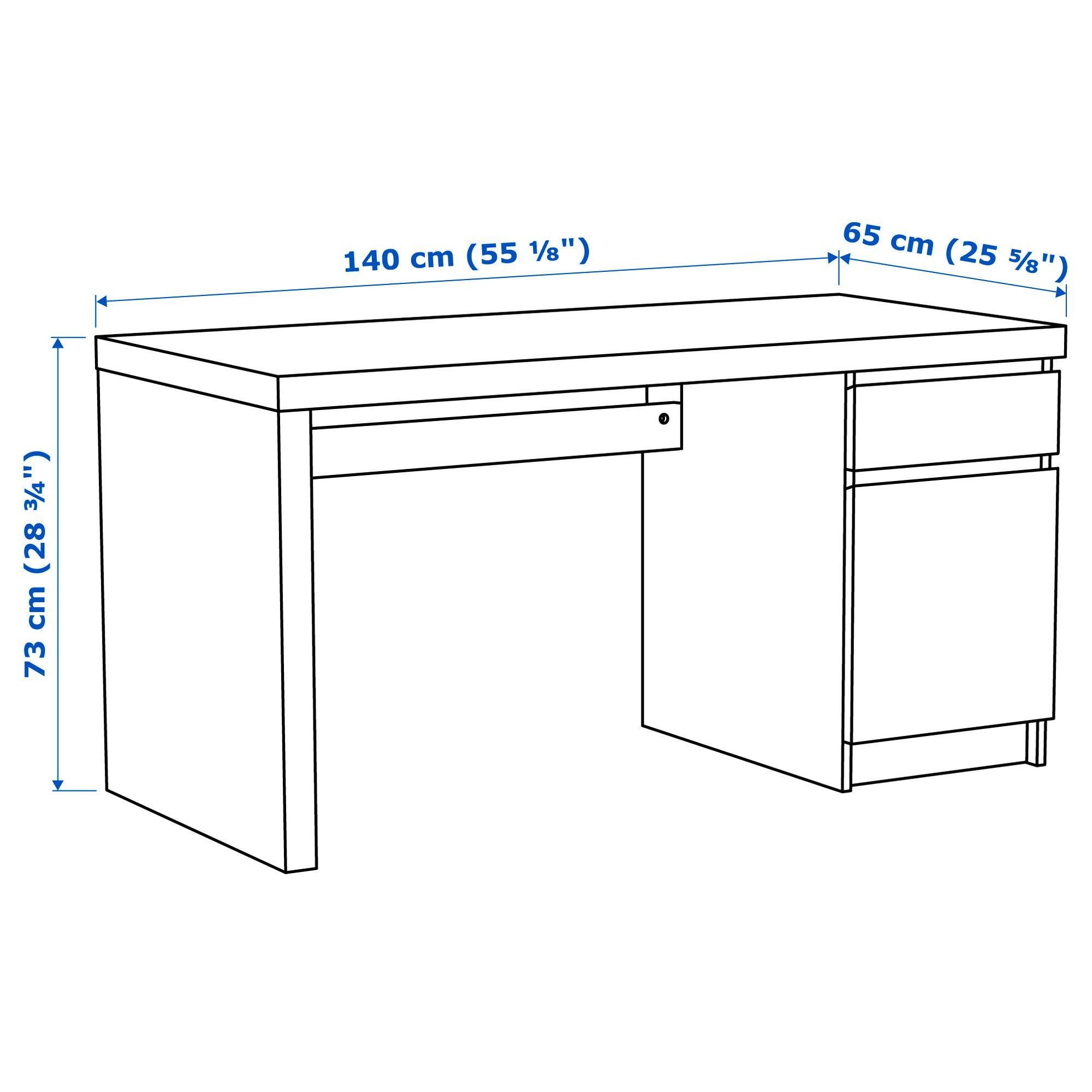 Malm Desk White 140x65 Cm Ikea In 2020 Ikea Malm Desk Ikea Malm White Desks