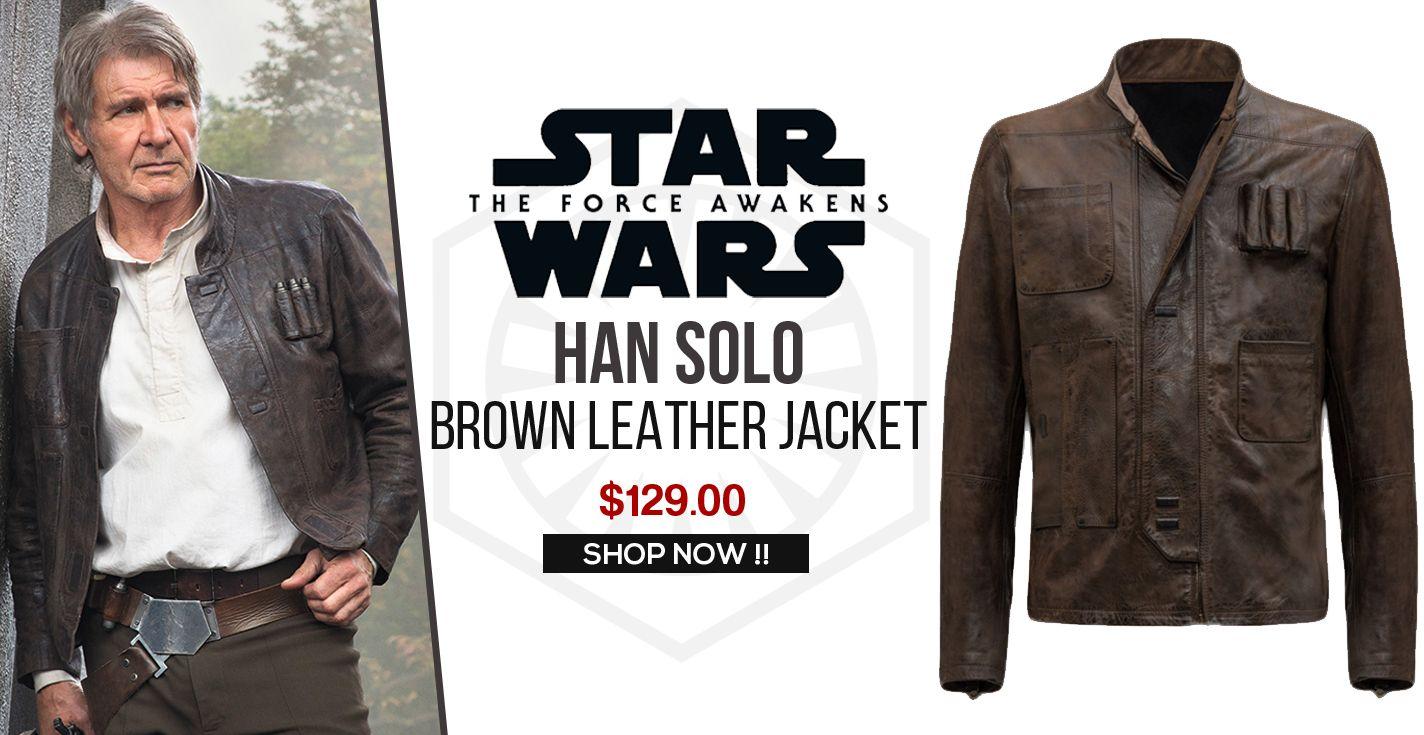 Han Solo Star Wars The Force Awaken Distress Brown Leather Jacket Brown Leather Jacket Leather Jacket Leather Jackets For Sale [ 735 x 1424 Pixel ]