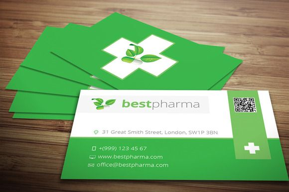 Pharmacy Business Card by Crazyleaf on @creativemarket Graphic - business card template for doctors