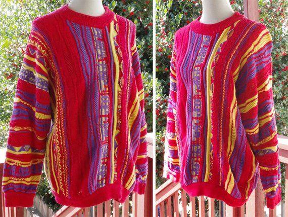 e0b9e96f2 COOGI Australia 1980 s 90 s Original Colorful Bright Red + Purple Vintage  Men s Coogi Sweater in Wov