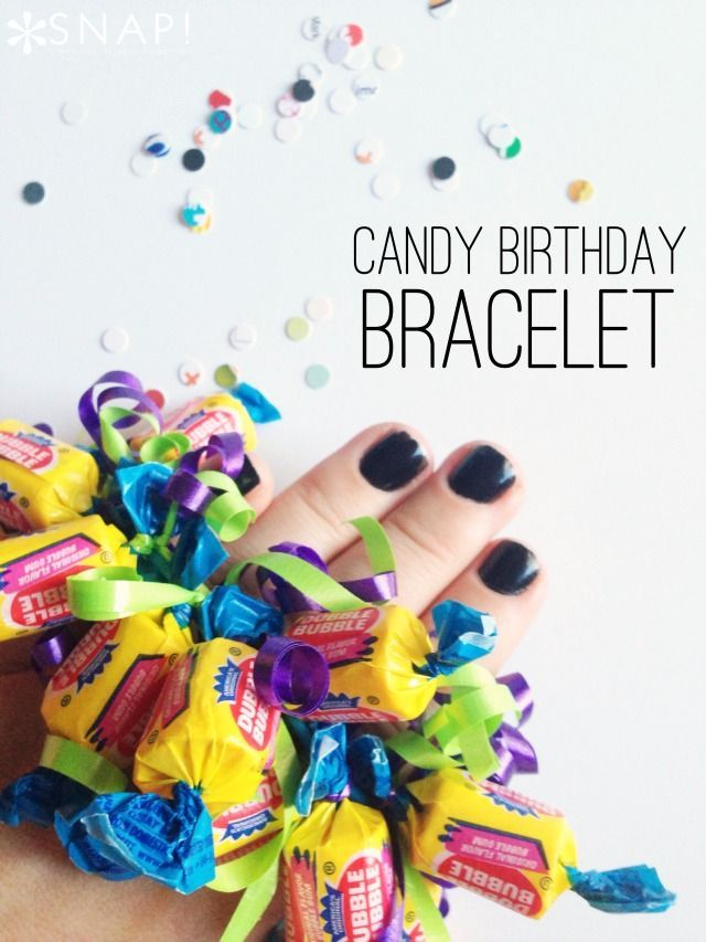 Candy Birthday Bracelet. This is the perfect classroom treat for older kids or those who aren't interested in a themed party.