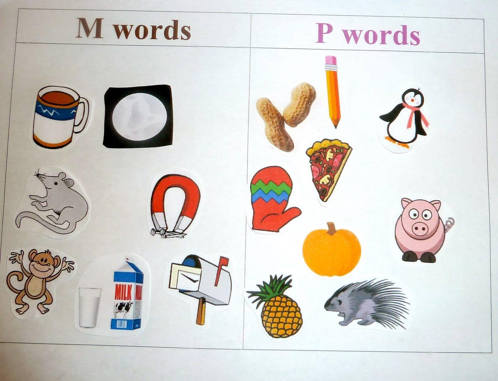 M Things vs P Initial Sound Sorting Kindergarten
