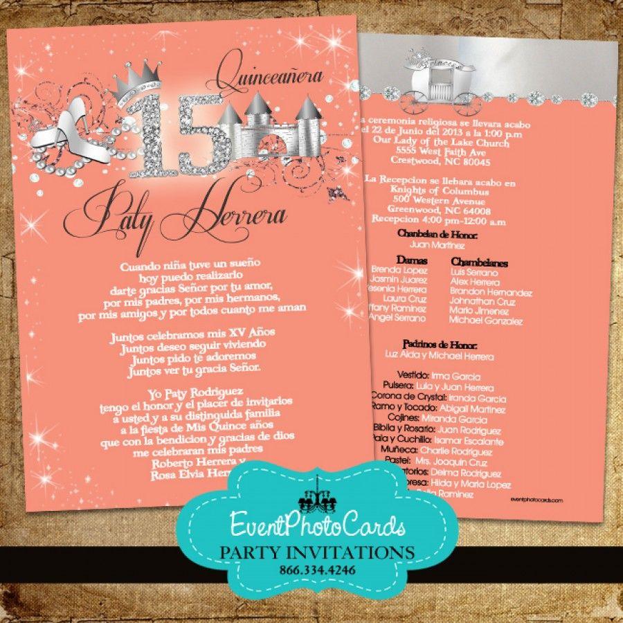 Peach Quinceanera Invitations - Princess | Coral Quinceanera Theme ...