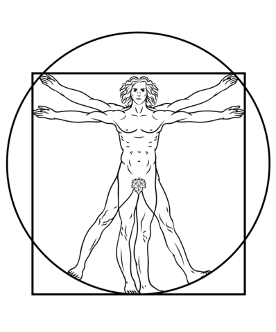 Vitruvian Man By Leonardo Da Vinci Coloring Page Free Printable Coloring Pages Rock Poster Adesivos Sticker Ilustracoes