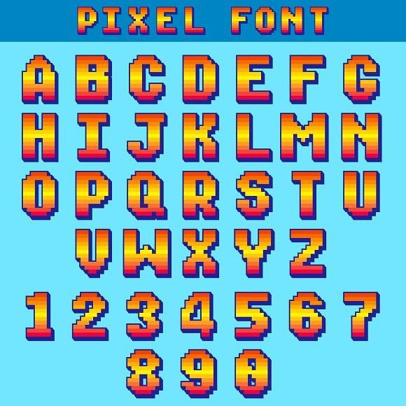 Pixel 8 Bit Letters And Numbers. Typeface